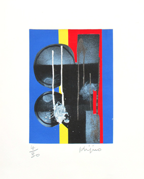 Signed etching de  : Composition X