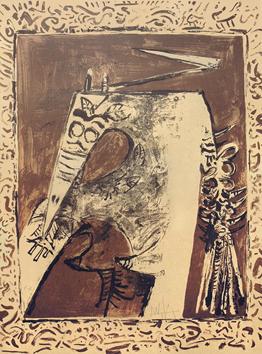 Lam Wifredo : Lithographie originale signée : Figure ocre