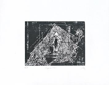 Bois gravé original signé de  : Apparition