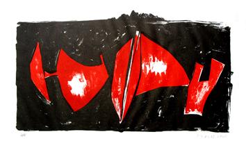 Marini Marino : Lithographie originale signée : Composition d'éléments