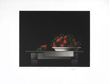 Manière noire signée de  : Des fraises au mois d'Août