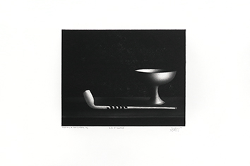 Original signed mezzotint de  : Pipe et coupelle