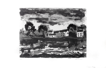 Original signed aquatint de Vlaminck Maurice : L'Oise à Cergy, second state