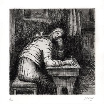 Moore Henry : Gravure originale : Girl doing homework IV