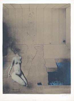 Lithographie originale signée de  : So baden die Frauen in Bremen I