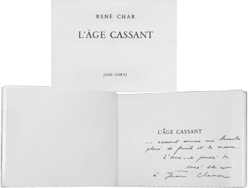 Dedicated book de Char René : L'Âge Cassant