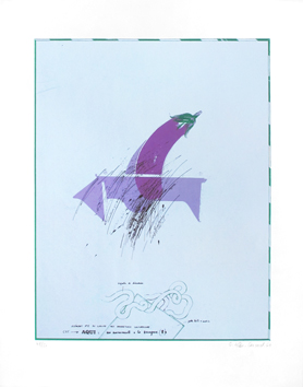 Original signed screenprint de  : Monument to the eggplant