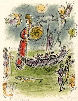 Chagall Marc : Lithographie : Athena guide... Télémaque