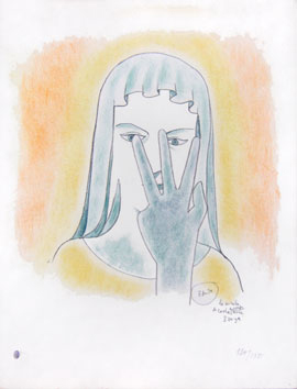 Original lithograph de  : Study face