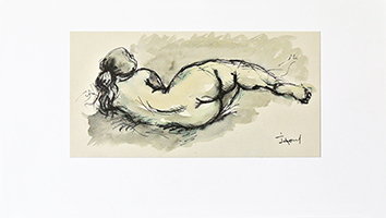 Original signed drawing de  : Study of a nude XV