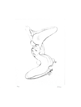 Bellmer Hans : Gravure burin sign�e : C�phalopode renvers�