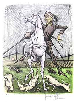 Lithograph de  : Don Quichotte, horse and spade II