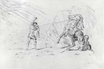 Signierte Bleistift-Zeichnung de  : Ippolito