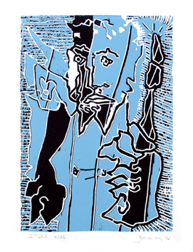 Signed woodcut de Scanreigh Jean-Marc : The sceptre in the hand