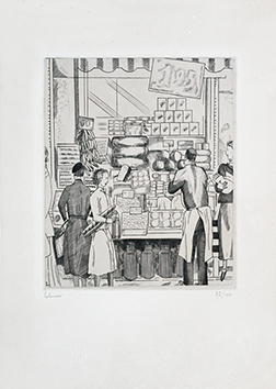 Original signed engraving de  : La boutique du crémier, second state