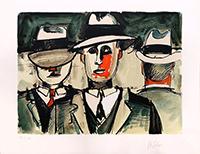 Signierte Originallithographie de  : Hommes au chapeau