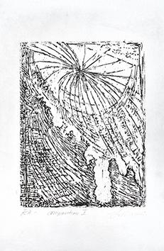 Signierte originale Holzschnitt de  : Komposition I