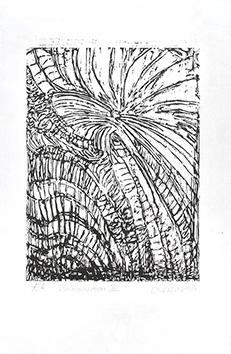 Bois gravé original signé de  : Composition II