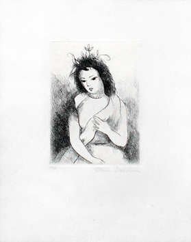 Original signed etching de  : Young girl