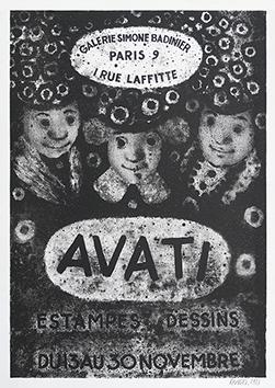 Affiche lithographie signée de  : Affiche pour l'exposition à la Galerie Badinier