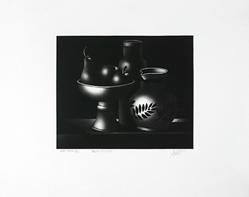 Original signed mezzotint de  : Fruits et pichet