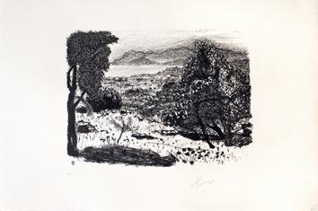 Bonnard Pierre : Lithographie originale signée : Paysage du Midi