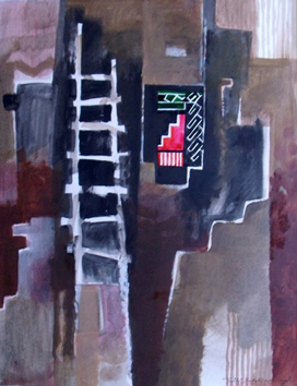 Signed acrylic on paper de Cayol Pierre : Pueblo
