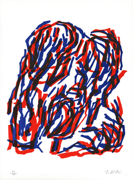 Lithograph signed de  : Red and blue bush