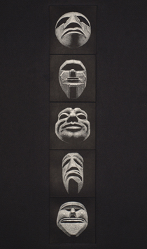 Original signed drypoint de Elvieri Vladimiro : Five masks