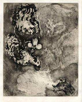 Chagall Marc : Gravure : Les deux coqs