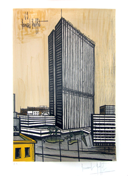 Lithograph signed de  : Ojima building