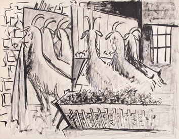 Original signed drawing de Pignon Edouard : Goats