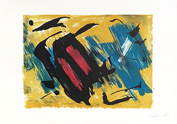 Original signed lithograph de  : Composition on yellow background