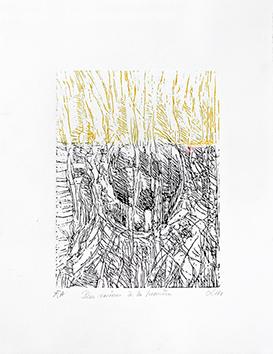 Bois gravé original signé de  : Des racines à la lumière