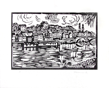 Signed woodcut de Vlaminck Maurice : Le Pecq (near Paris)