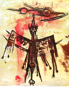 Lam Wifredo : Lithographie originale signée : Sans titre VI