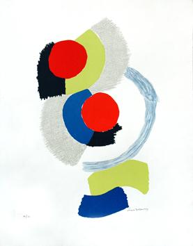 Delaunay Sonia : Litografia original firmada : Ping pong