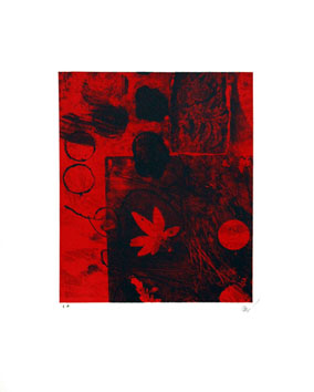 Original signed lithograph de  : Red leaf