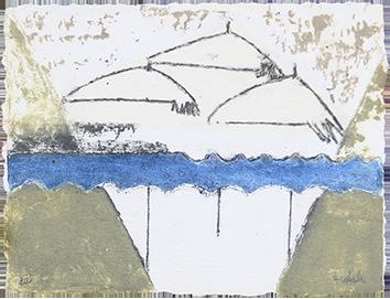 Carborundum original signé de  : Triumvirat de parapluies