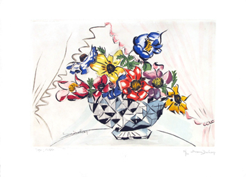 Etching after de  : Vase of flowers, Suzanne Duchamp