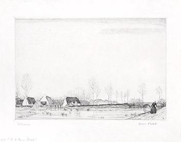Gravure originale signée de  : L'île de Mazun