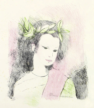 Original signed lithograph de  : The crowned Muse