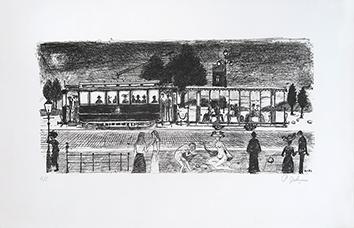 Lithographie originale signée de  : Le Tramway