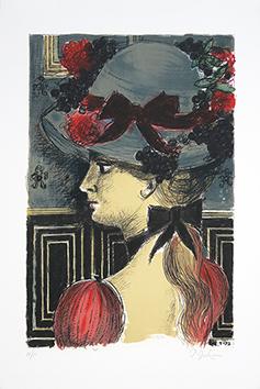 Lithographie originale signée de  : Le chapeau 1900 III
