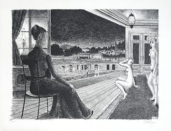 Lithographie originale signée de  : Devant la ville