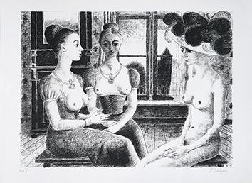 Lithographie originale signée de  : La fenêtre
