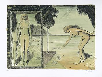 Lithographie originale signée de  : La plage