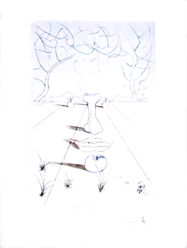 Original etching de  : Surrealist face