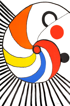 Original signed lithograph de  : Multicoloured spiral