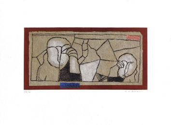 Signed etching carborundum de  : Two characters